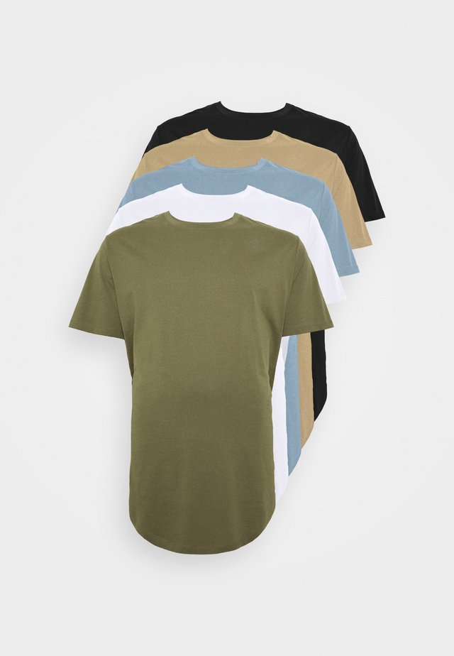 JJENOA TEE CREW NECK 5 PACK  - T-Shirt basic - crockery/dusty olive
