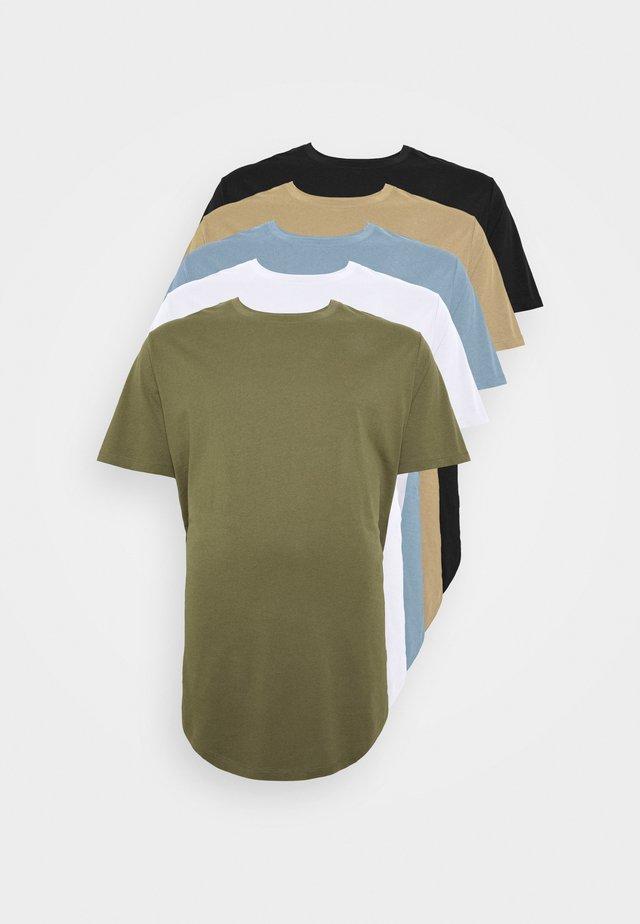 JJENOA TEE CREW NECK 5 PACK  - Basic T-shirt - crockery/dusty olive