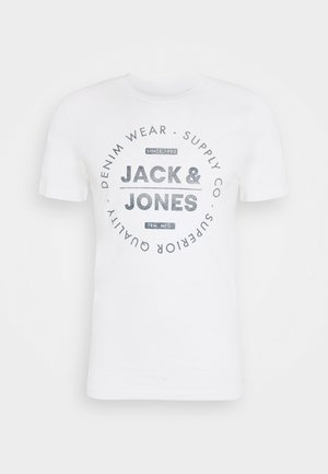 JJEJEANS TEE CREW NECK - T-shirts med print - cloud dancer