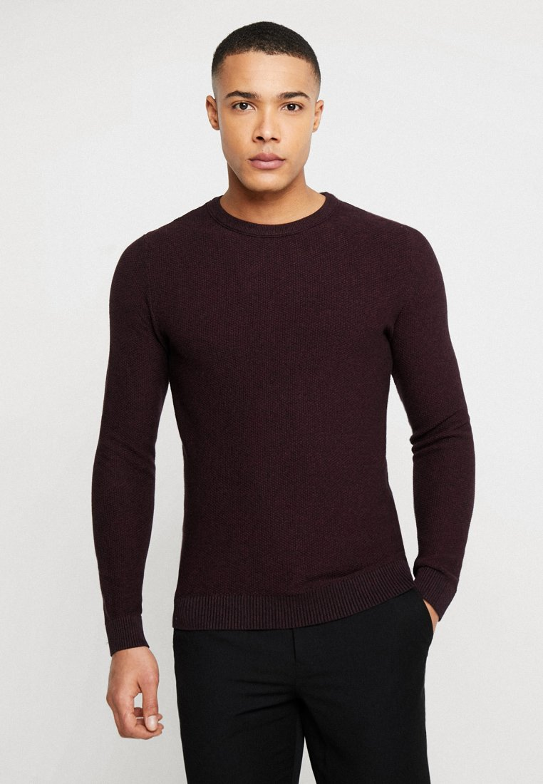 Jack & Jones - JJESTRUCTURE CREW NECK  - Maglione - port royale/twisted with black