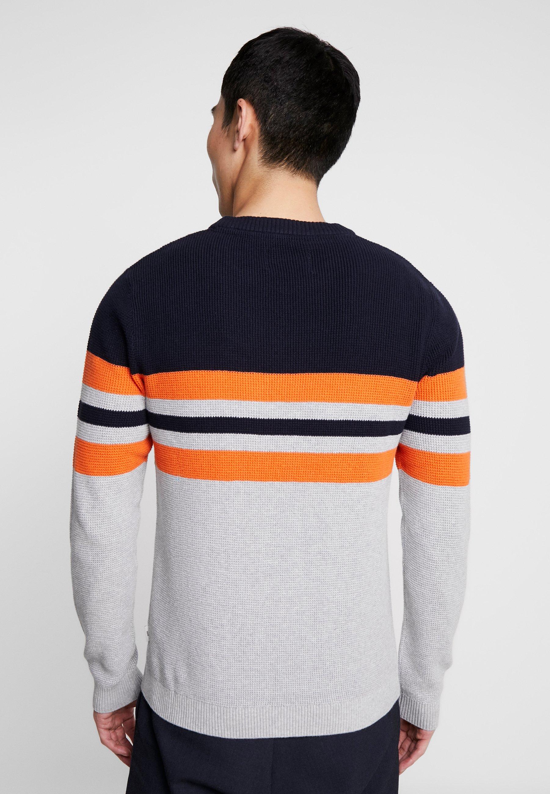 vibrant Orange Knit Jackamp; NeckPullover Jones Jconewoak Captain Crew Sky FKcTl1J