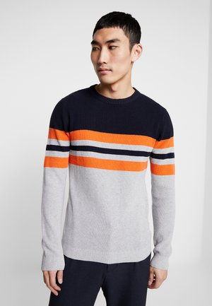 JCONEWOAK KNIT CREW NECK - Jumper - sky captain/vibrant orange