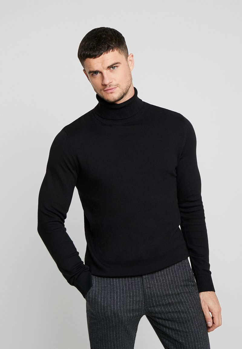 Jack & Jones - JJEEMIL ROLL NECK - Stickad tröja - black