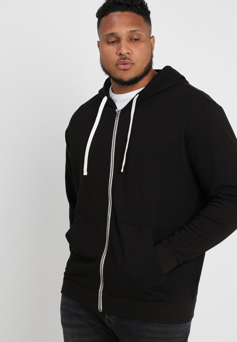 Jack & Jones - JJEHOLMEN  ZIP HOOD PLUS - Sudadera con cremallera - black