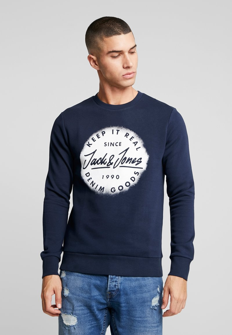 Jack & Jones - JORSPRAYED CREW NECK - Sweatshirt - navy blazer