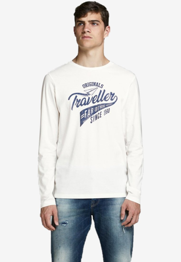 Jack & Jones - LONGSLEEVE URLAUBSPRINT - Langarmshirt - cloud dancer