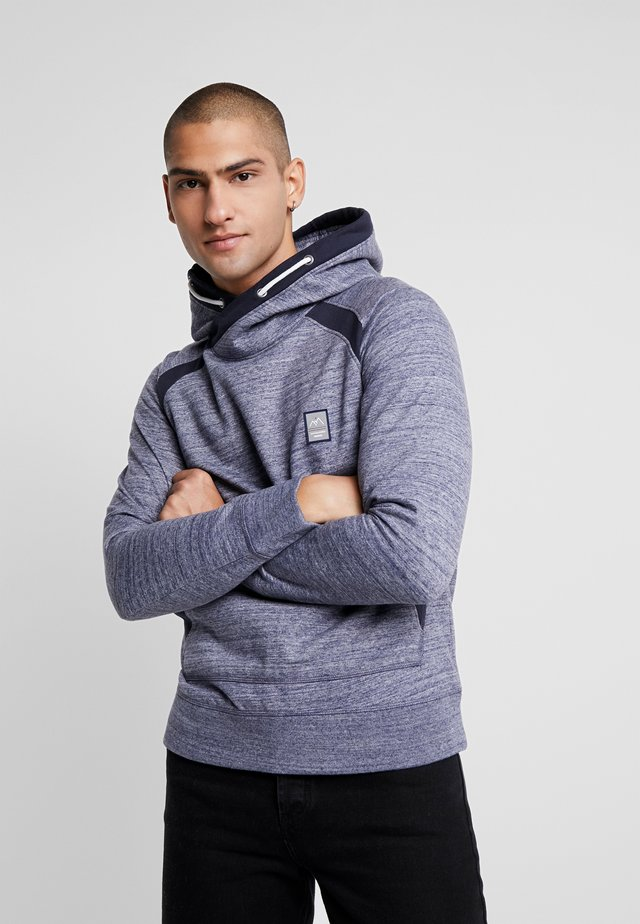 JORCHRIS SWEAT CROSS OVER HOOD - Jersey con capucha - navy blazer/melange