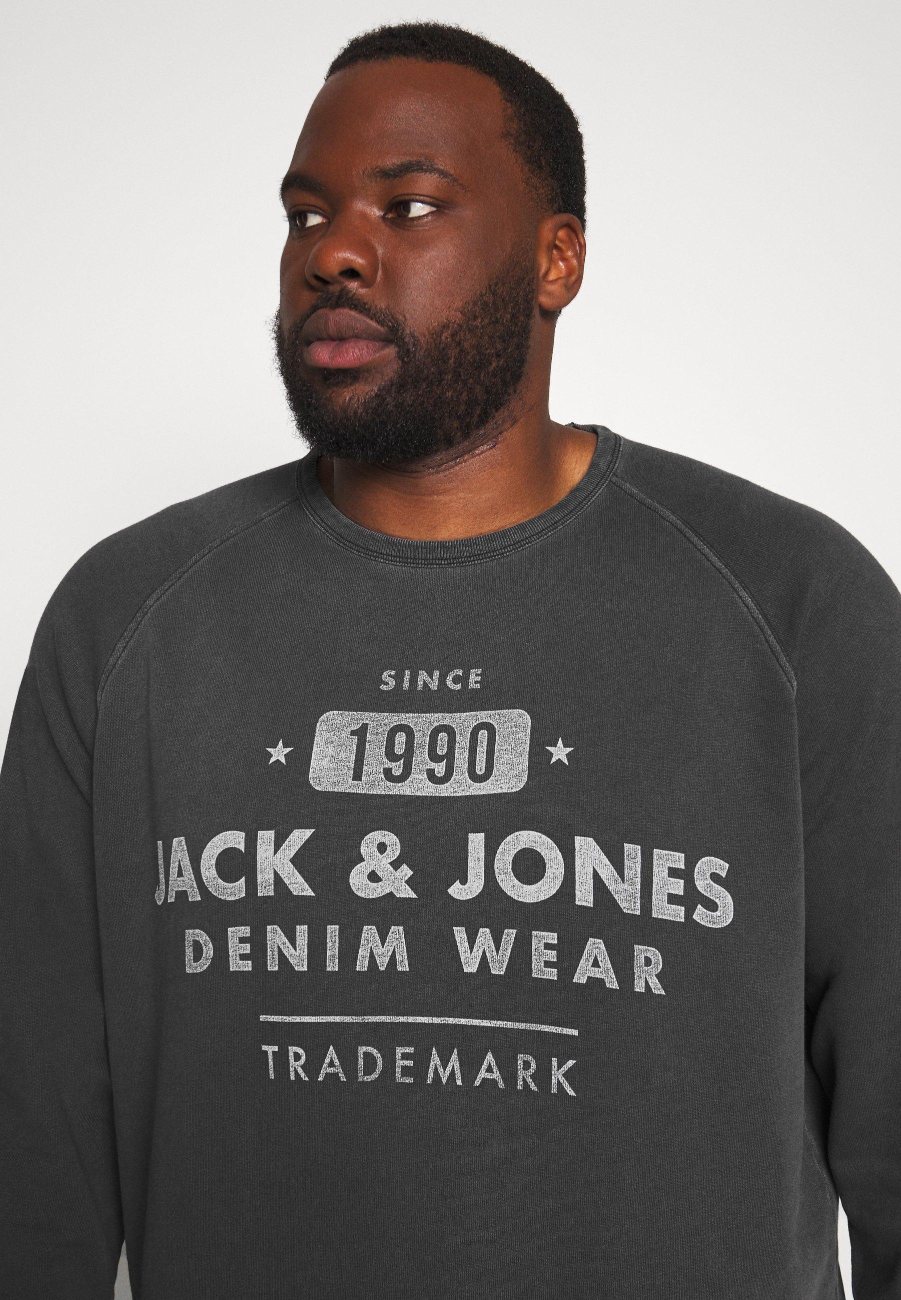 Jack & Jones JJEJEANS WASHED CREW NECK - Bluza - dark grey