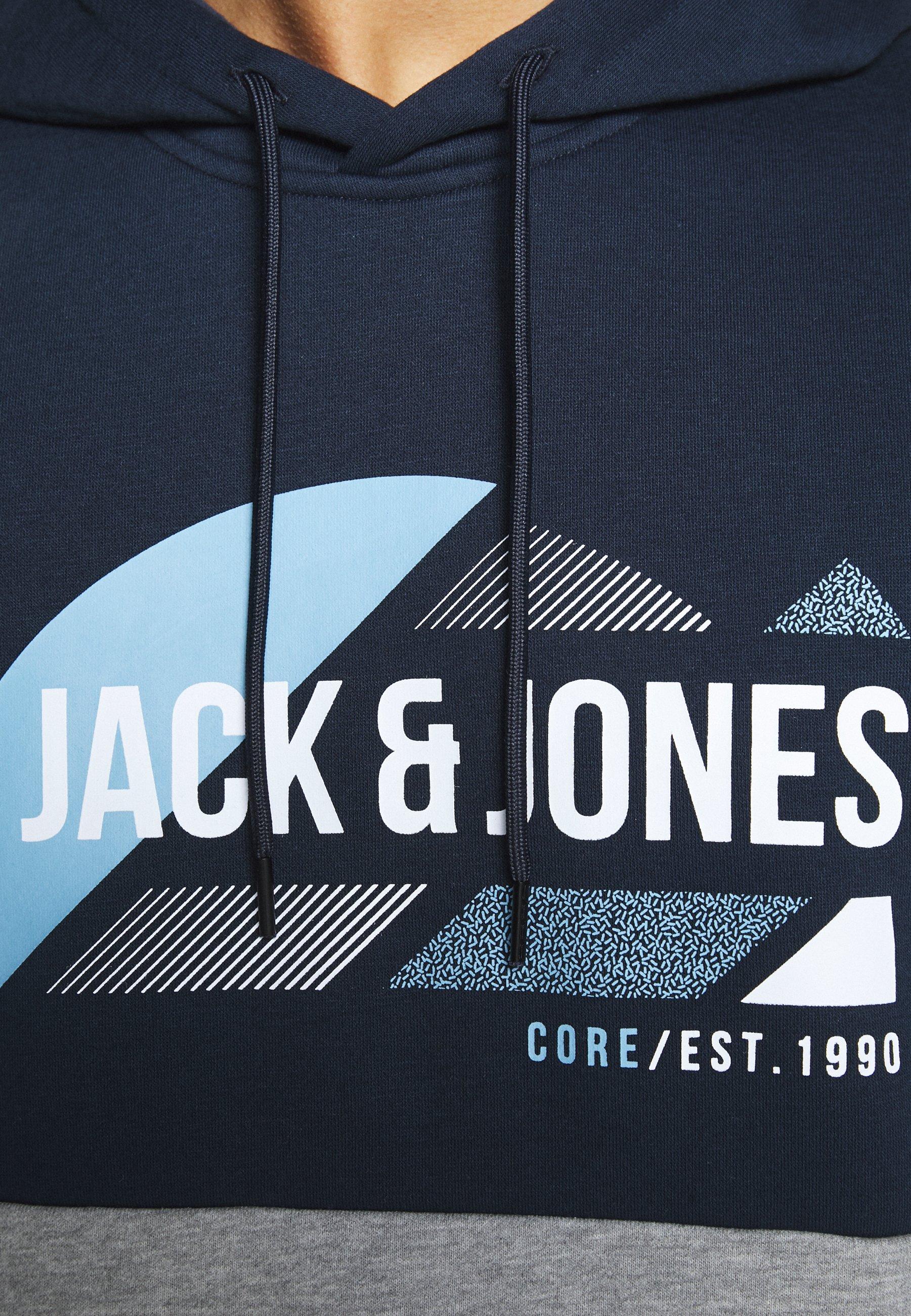 Jack & Jones JCOSTONEY HOOD REGULAR FIT - Bluza z kapturem - navy blazer