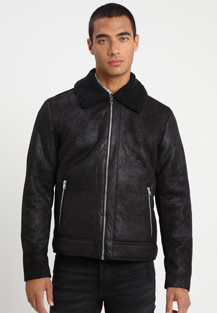 Jack & Jones - JORAVIATOR JACKET - Faux leather jacket - black