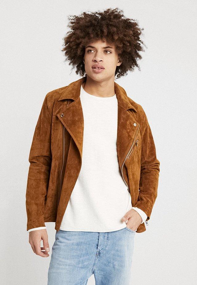 JORDANE - Leather jacket - brown stone