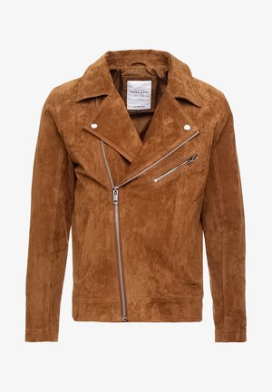 JORDANE - Leather jacket - brown stone