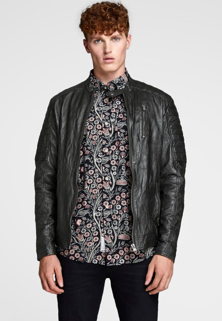 Jack & Jones - Leather jacket - black