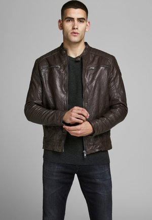 Leather jacket - brown stone