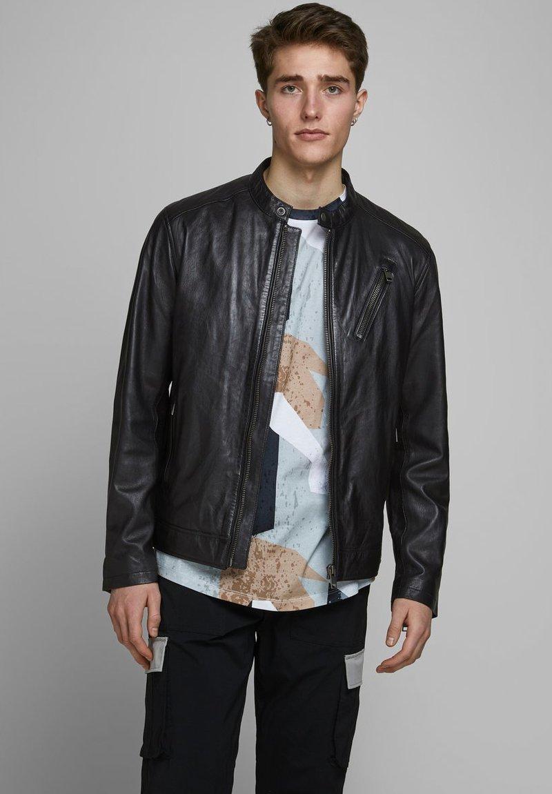 Jack & Jones - LEDERJACKE MINIMALISTISCHE - Leather jacket - black