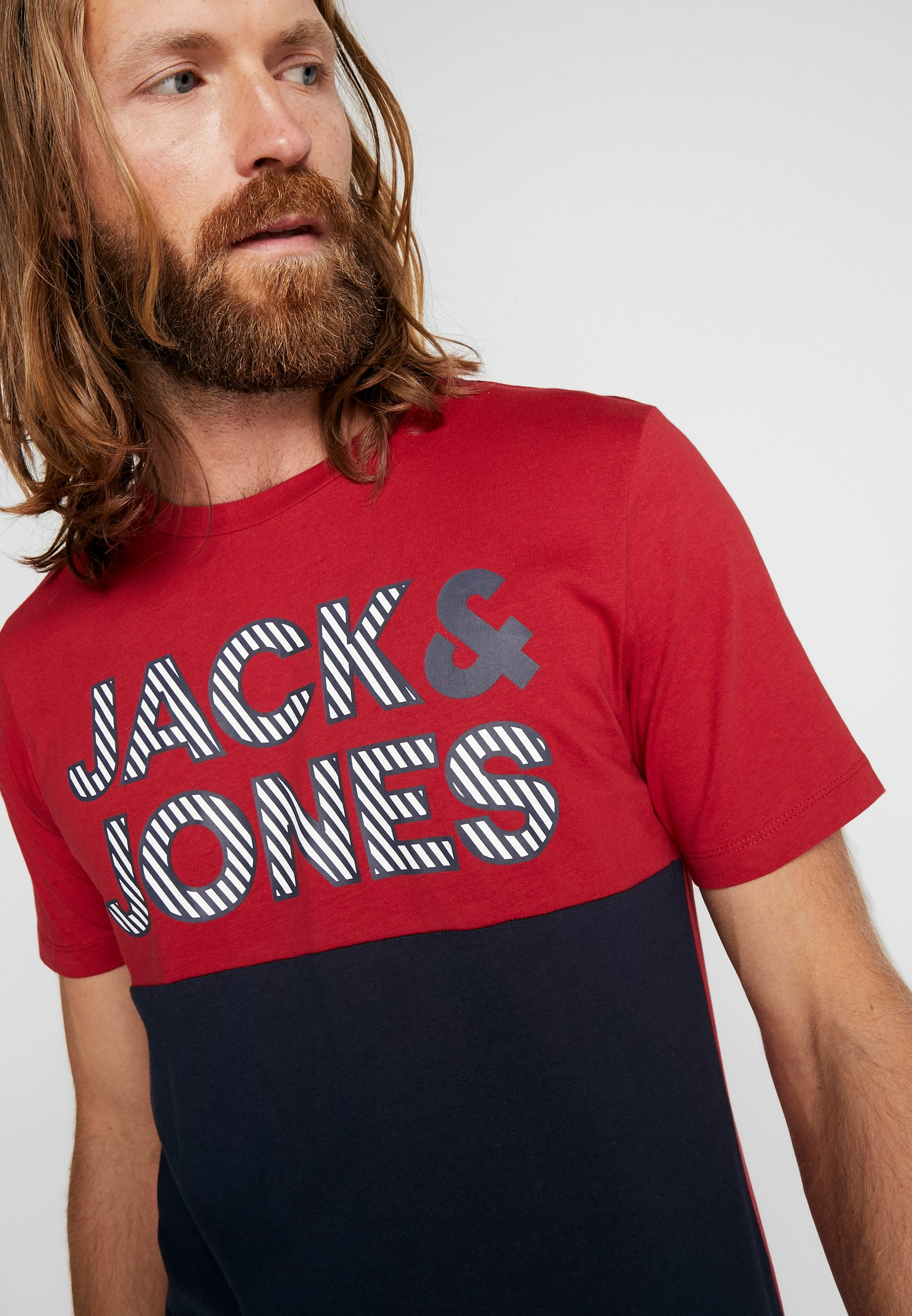 Jack & Jones JCOMILLER TEE CREW NECK - T-shirt z nadrukiem - rio red