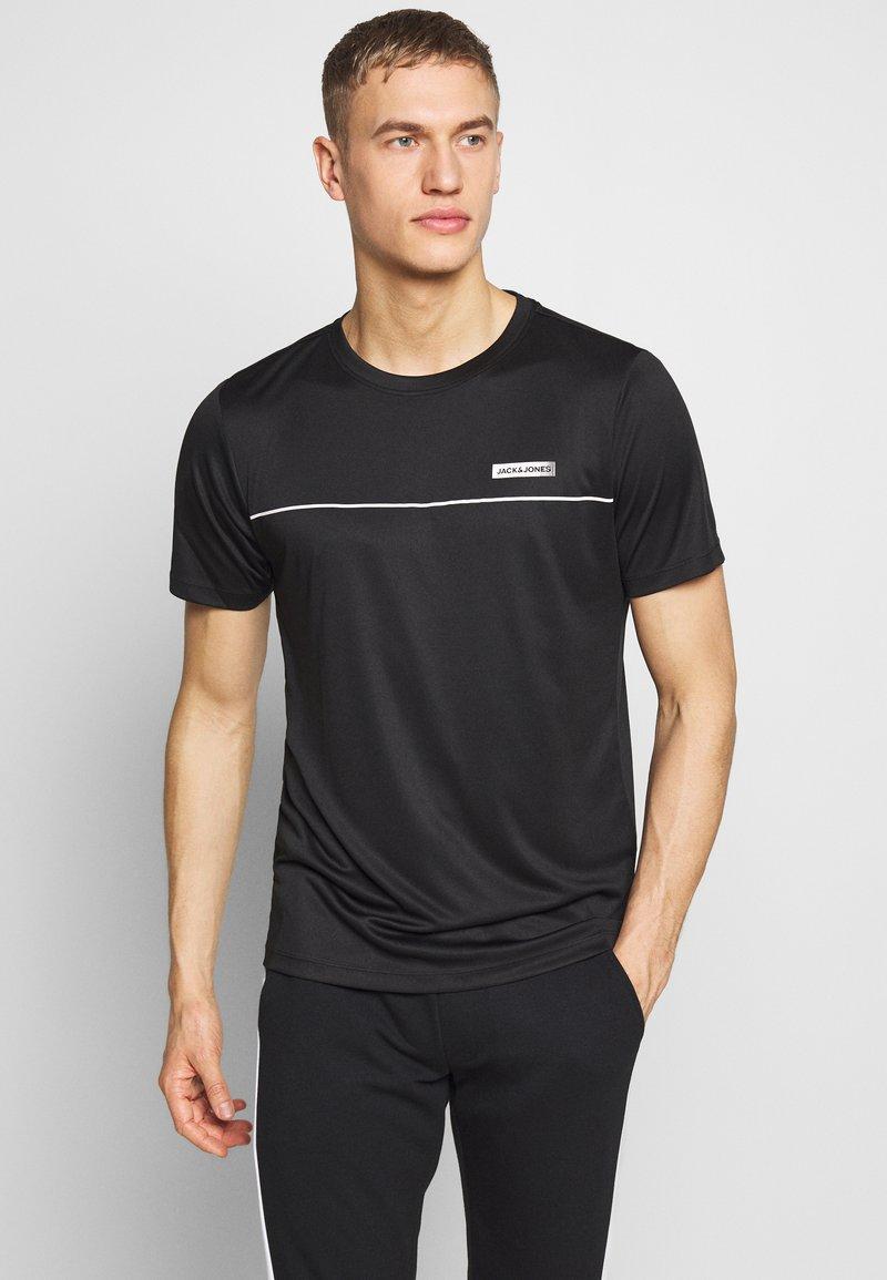 Jack & Jones Performance - JCOZSS PERFORMANCE TEE - Print T-shirt - black