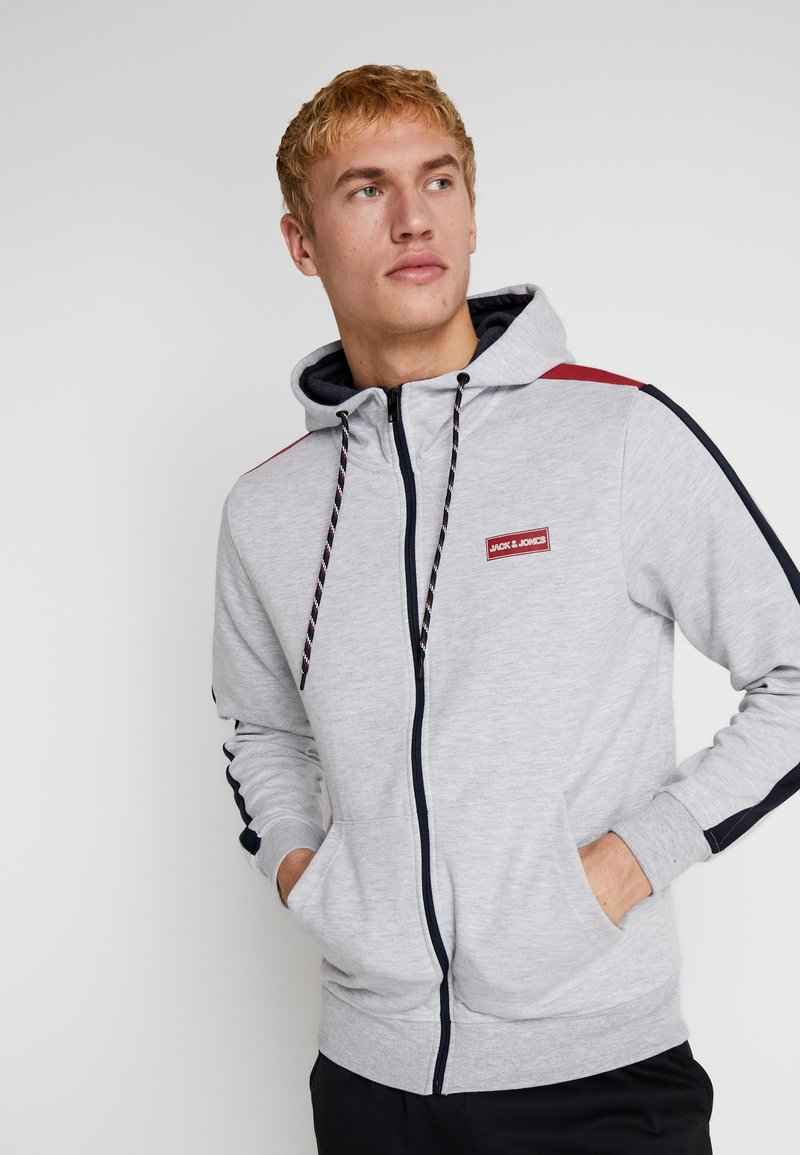 Jack & Jones - JCOISLAND ZIP HOOD - Hoodie met rits - light grey melange