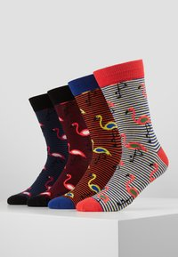 Jack & Jones - JACSTRIPE FLAMINGO SOCK 4 PACK - Ponožky - navy blazer/black - diva pink - 0
