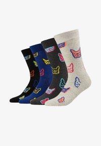 Jack & Jones - JACCOLOR DOG SOCK 4 PACK - Ponožky - light grey melange/navy blazer - 1