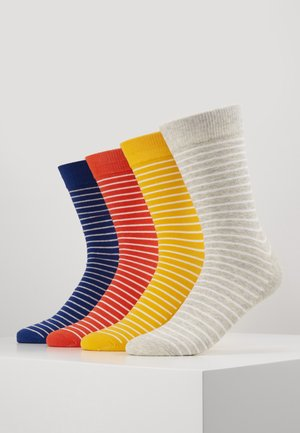 JACMULTI STRIPE SOCK 4 PACK - Strumpor - yolk yellow/light grey melange