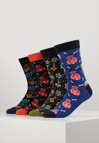 Jack & Jones - JACSKULL FLOWER SOCKS 4 PACK - Calcetines - chili/vineyard green - surf the web - 0
