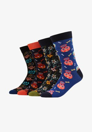 JACSKULL FLOWER SOCKS 4 PACK - Calcetines - chili/vineyard green - surf the web