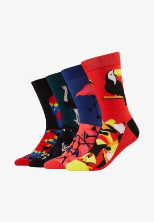 JACMIX ANIMALS SOCK  4 PACK - Chaussettes - black/firey red/deep teal/surf