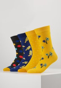 Jack & Jones - JACYELLOW MIX SOCKS 4 PACK - Ponožky - dark grey melange/persimmon orange - 0