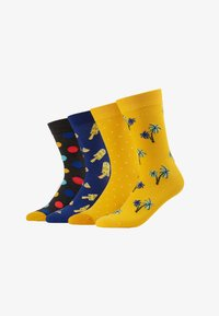 Jack & Jones - JACYELLOW MIX SOCKS 4 PACK - Ponožky - dark grey melange/persimmon orange