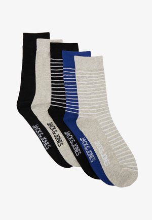 JACSTRIP SOCKS 5 PACK - Chaussettes - black/light grey melange