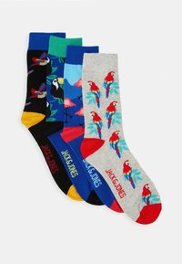 Jack & Jones - JACANIMALS SUMMER SOCK 4 PACK - Ponožky - light grey melange/black/victoria - 0