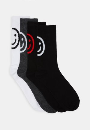 JACSMILEY TENNIS SOCKS 4 PACK - Skarpety - dark grey melange/white/dark grey