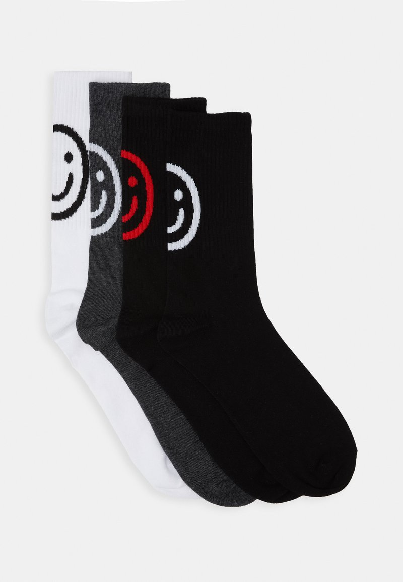 Jack & Jones - JACSMILEY TENNIS SOCKS 4 PACK - Ponožky - dark grey melange/white/dark grey