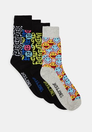 JACSMILY SOCK 4 PACK - Ponožky - black/light grey melange