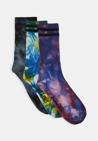 Jack & Jones - JACTHAI DYE TENNIS SOCK 3 PACK - Ponožky - black/diva pink/yolk yellow - 0