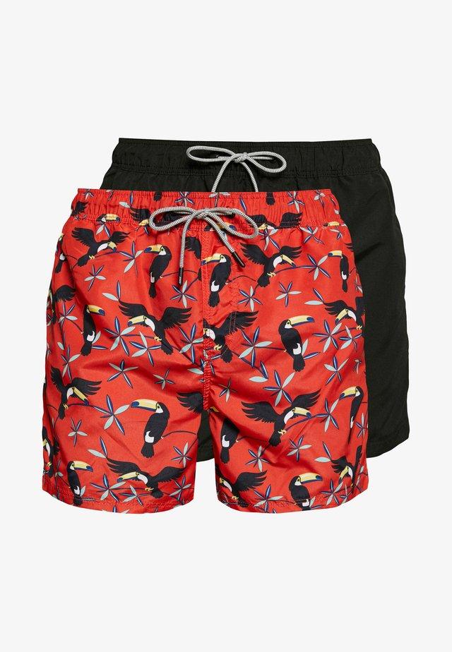 ARUBA SWIM 2 PACK - Shorts da mare - black/hot coral