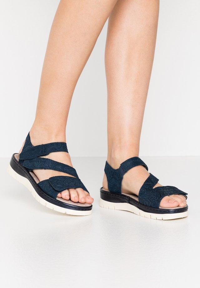 Platform sandals - navy glitter