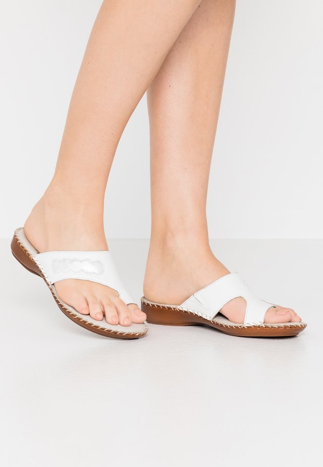 SLIDES - T-bar sandals - white