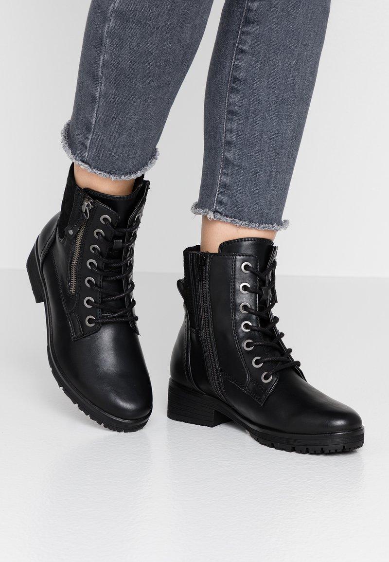 Jana - Šněrovací kotníkové boty - black