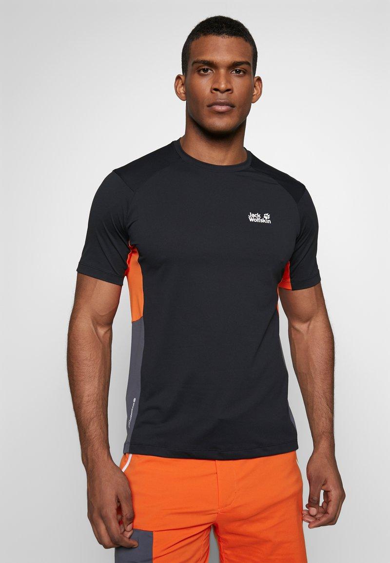 Jack Wolfskin - NARROWS - T-shirt z nadrukiem - black