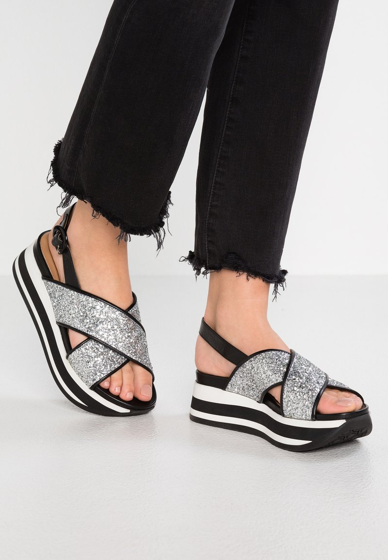 Janet Sport - Platform sandals - tosca cleo/argento nero