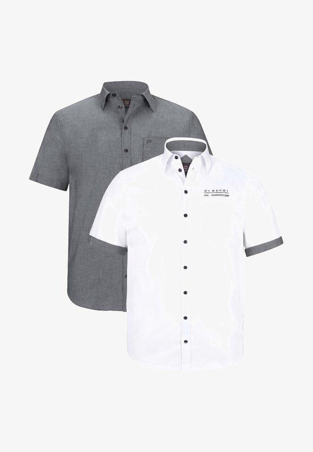 EVIN 2 PACK - Overhemd - weiß/grau
