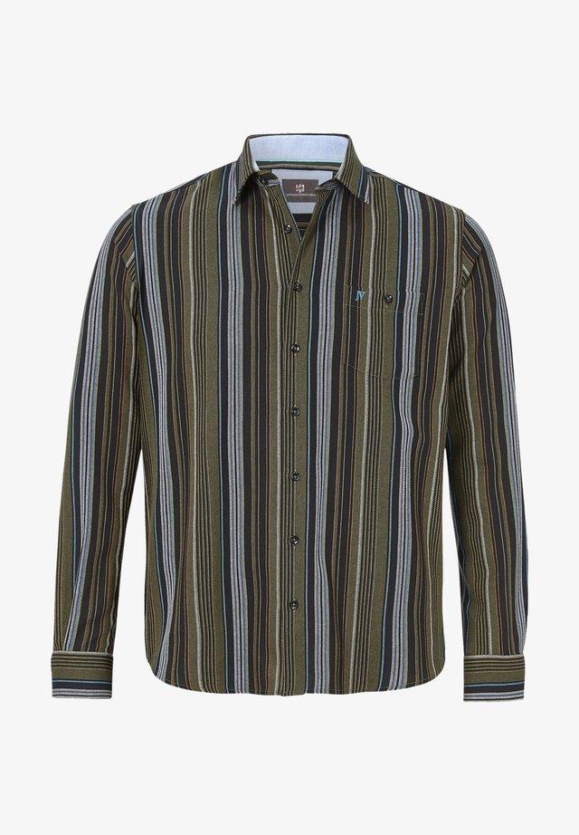 ERWINEK - Overhemd - oliv gestreift