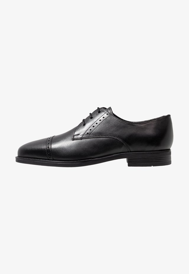 TOE CAP DERBY SHOE - Smart lace-ups - black