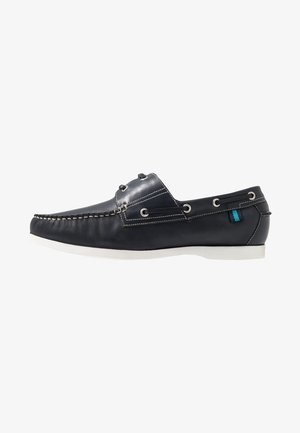 WIDE BOAT SHOE WITH CONTRAST SHOE - Boat shoes - navy/white