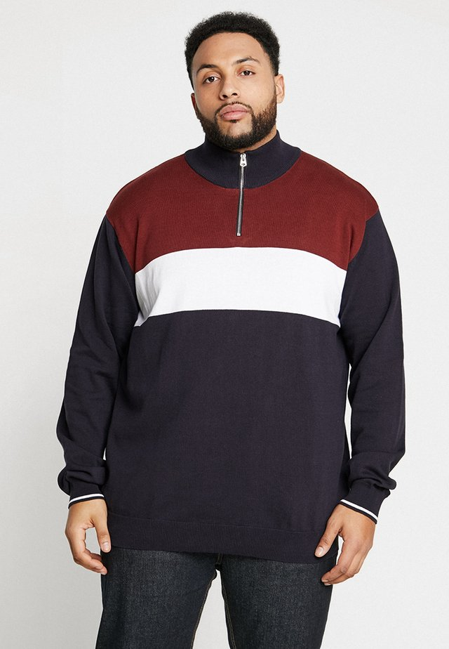 ZIP NECK SPORTS LONG PLUS SIZE - Strickpullover - dark blue