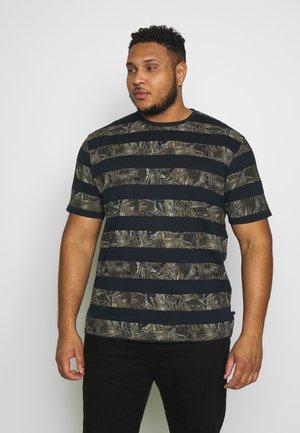 STRIPE LEAF TEE - Print T-shirt - navy