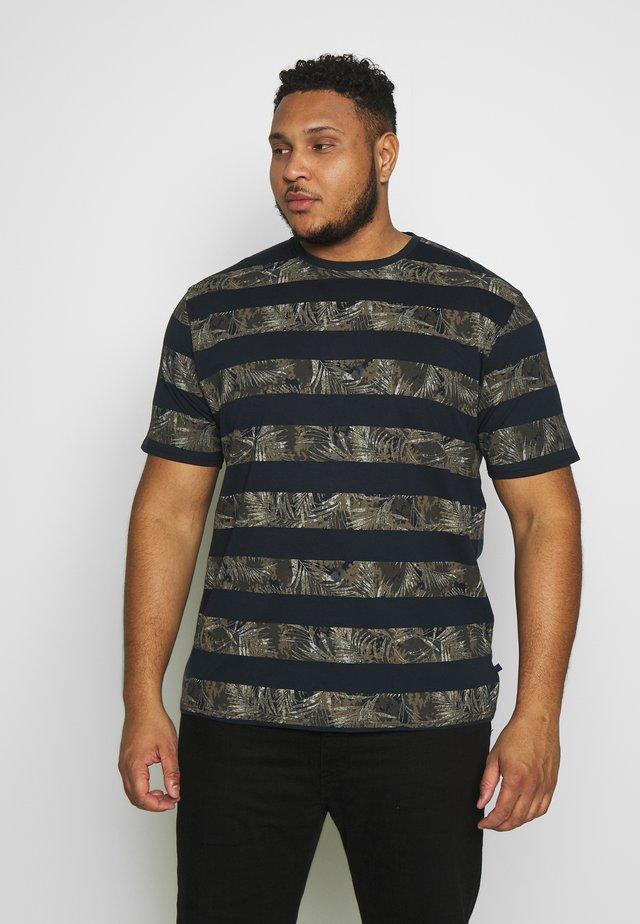 STRIPE LEAF TEE - T-shirt con stampa - navy