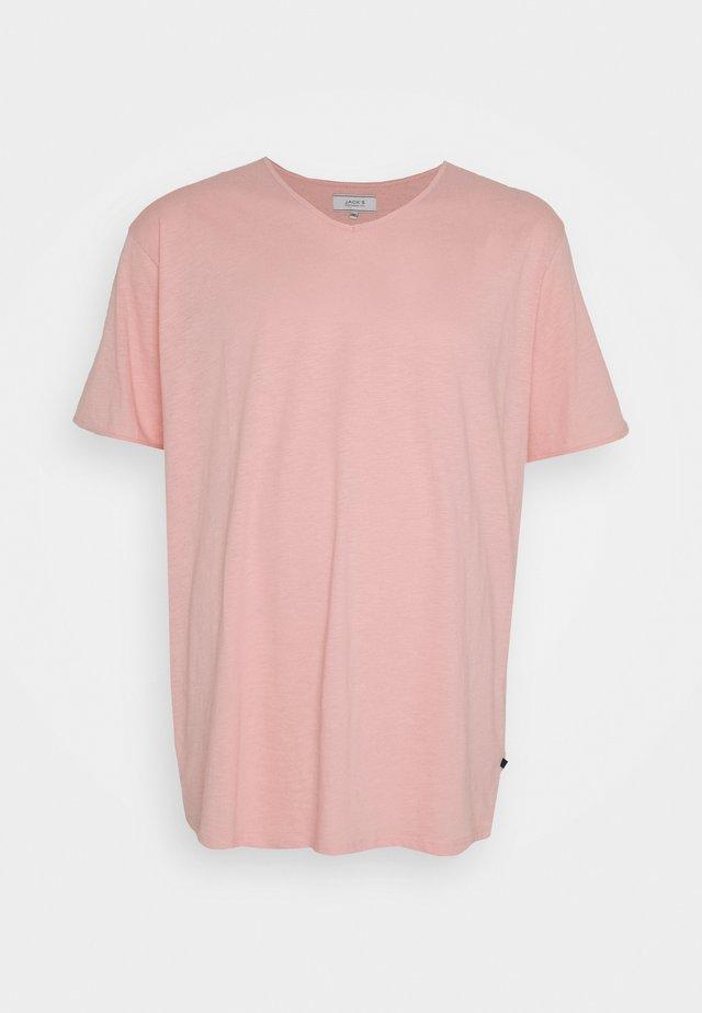 RAW VNECK SLUB TEE - T-shirts - pink